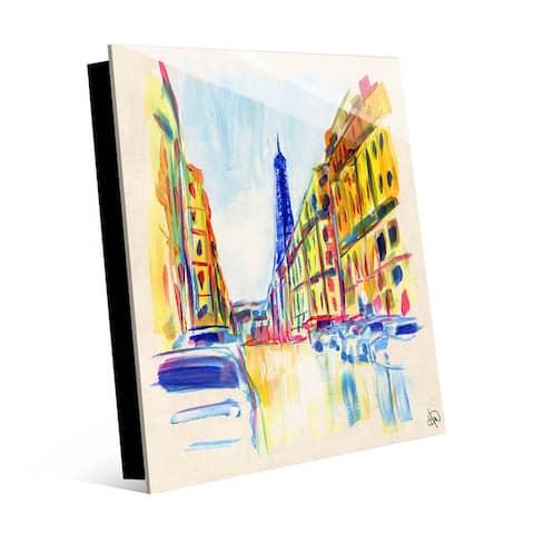 Kathy Ireland Rue De Paris in Yellow on Acrylic Wall Art Print