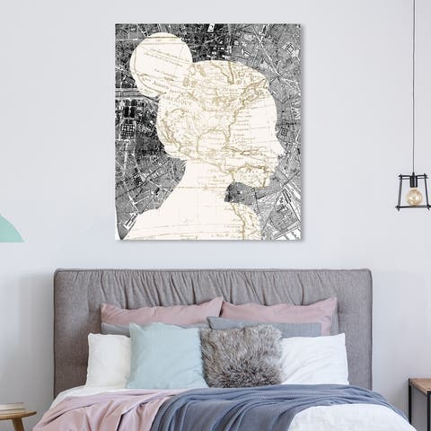 Oliver Gal Maps and Flags Wall Art Canvas Prints 'The Map Lover' World Maps - White, Gray