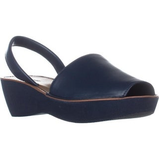 Kenneth Cole REACTION Fine Glass Perforated Wedge Sandals, Navy