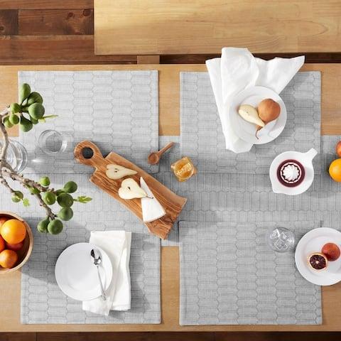 "Martha Stewart Honeycomb Fabric Placemat Set, Charcoal Grey, 4 Piece - 13""x17.5"""