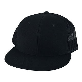 1052 Series High Crown Black Mesh Trucker Snapback Hat Cap by CapRobot - Black