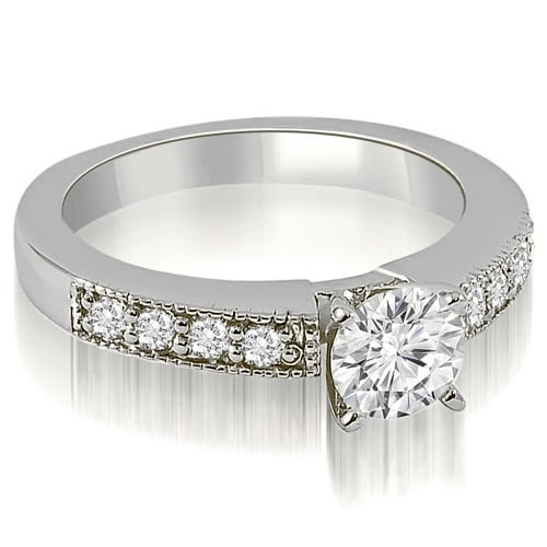 1.25 cttw. 14K White Gold Antique Milgrain Round Cut Diamond Engagement Ring
