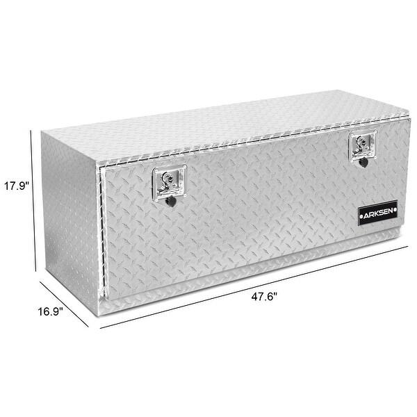 "48/"" Heavy Duty Truck Aluminum Diamond Plate Underbody Trailer Storage w// Key"