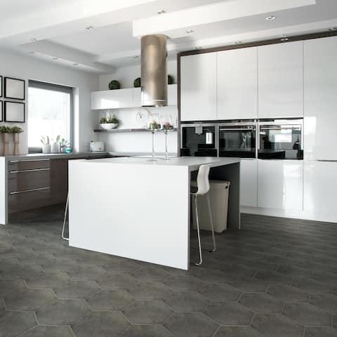 SomerTile 8.625x9.875-inch Vendimia Marengo Hex Porcelain Floor and Wall Tile