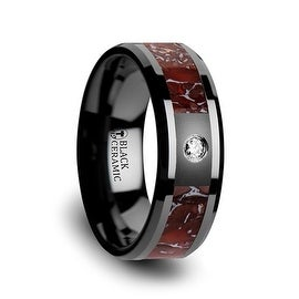Red Dinosaur Bone Inlaid Black Ceramic Diamond Wedding Band with Beveled Edges 8mm