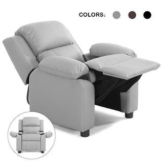 Costway Kids Sofa Deluxe Padded Armchair Recliner Headrest w/ Storage