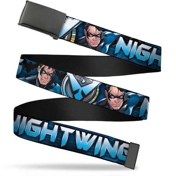 """Blank Black 1.25"""" Buckle Nightwing Poses Logo Black Blues Webbing Web Belt 1.25"""" Wide - M"""