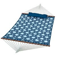 "82"" x 55"" Blue Geometric Pattern Quilted Reversible Hammock with Pillow"