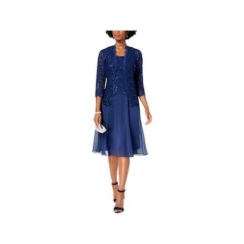 Alex Evenings Womens Midi Dress Cocktail Lace