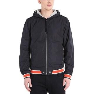 Diesel Hellad 00SGDQ Reversible Hoodie Windbreaker Jacket Black and Grey Small