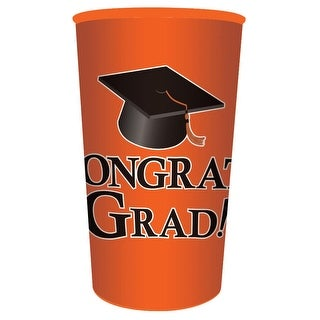 "Club Pack of 20 Orange ""Congrats Grad!"" Plastic Drinking Graduation Party Souvenir Tumbler Cups 22 oz"