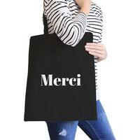 Merci Black Canvas Bag BFF Birthday Gift Idea Trendy Tote Bags