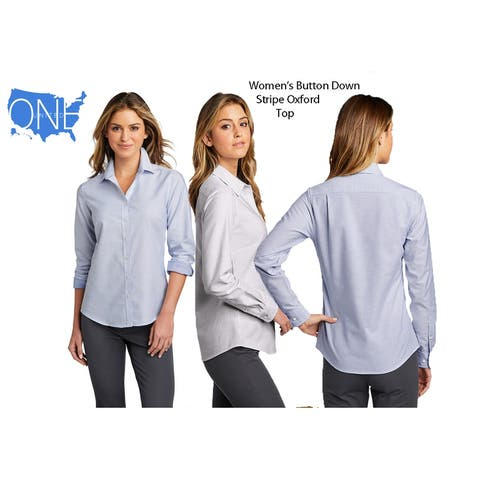 One Country United Women's Long Sleeve Oxford Stripe Top