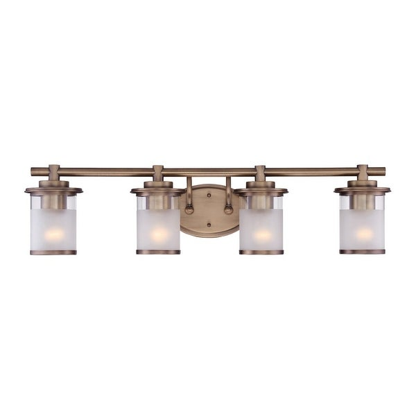 "Designers Fountain 6694-OSB Essense 4 Light 32"" Wide Vanity Light with Sand Shade - old satin brass"