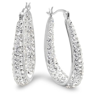 Amanda Rose Sterling Silver  Hoop Earrings made with Swarovski Crystals