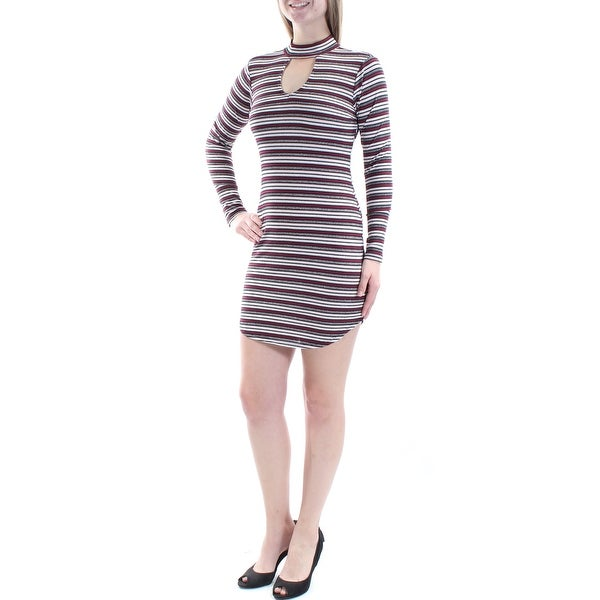 855e202dd40cc Shop NO COMMENT Womens Burgundy Glitter Striped Long Sleeve Turtle Neck  Above The Knee Body Con Dress Size: M - On Sale - Free Shipping On Orders  Over $45 ...