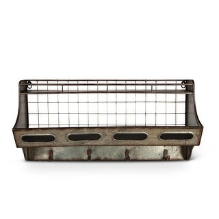 23.6 Distressed Brown and Galvanized Finish Wall Shelf with Hook