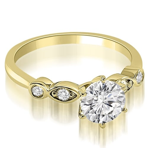0.62 cttw. 14K Yellow Gold Vintage Style Round Cut Diamond Engagement Ring