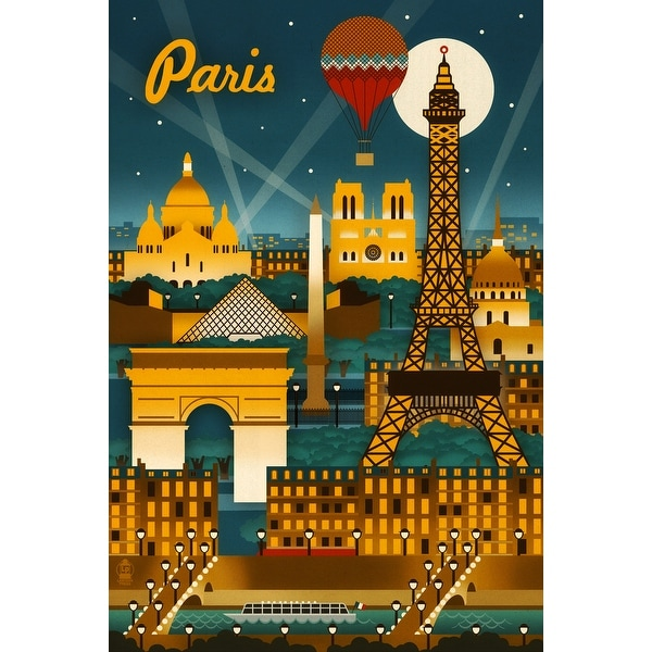 Paris, France - Retro Skyline - LP Artwork (Cotton/Polyester Chef's Apron)