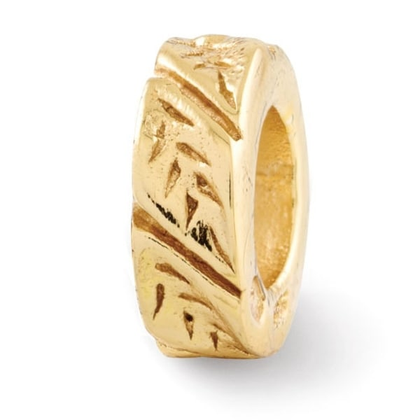 Sterling Silver Reflections Gold-plated Leaf Design Spacer Bead (4mm Diameter Hole)