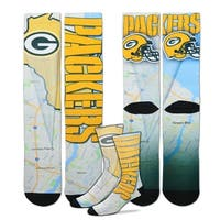 Green Bay Packers Roadmap Sublimated Socks, Large (10-13)