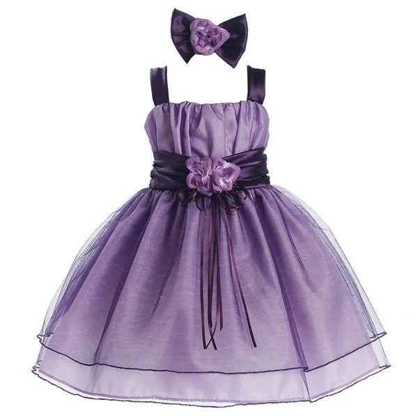 fe789d802e3c8 Baby Girls Purple Taffeta Organza Pin Flower Strap Flower Girl Dress