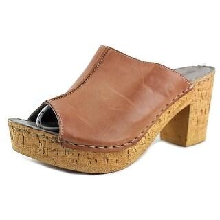 White Mountain Bankroll Women Peep-Toe Leather Brown Mules