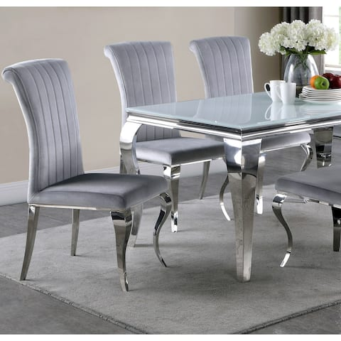 Majestic Cabriola Design Grey Velvet Dining Chairs with Chrome legs (Set of 4)