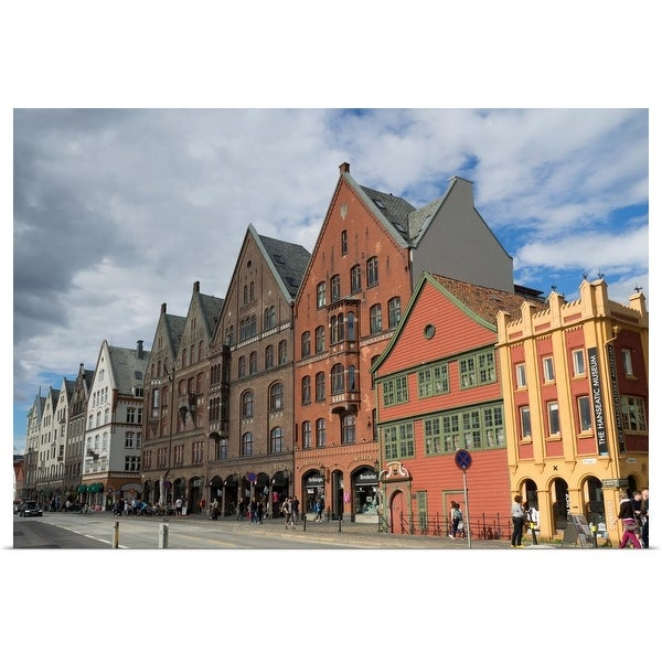 """View of Bryggen with Hanseatic Museum, Bergen, Hordaland County, Norway"" Poster Print"