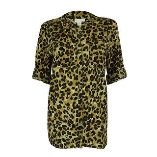 Charter Club Women's Animal Print Button Down Top - deep black combo - pl