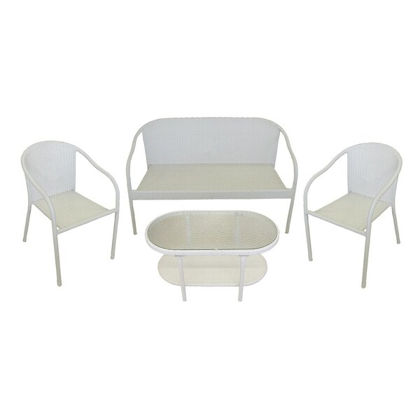 4 piece white resin wicker patio furniture set loveseat for Outdoor furniture 0 finance