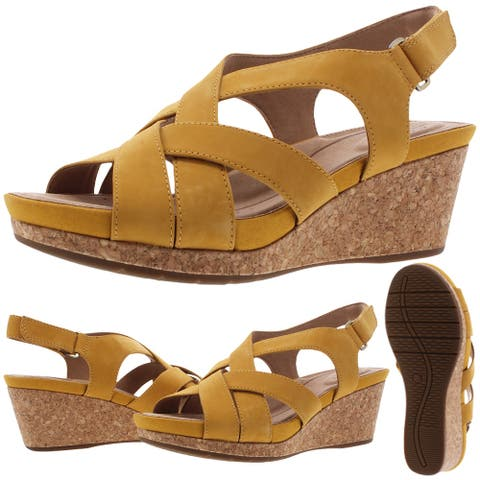 Unstructured by Clarks Un Capri Step Women's Leather Slingback Wedge Sandals - Yellow Nubuck