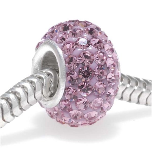 Sterling Silver Crystal Pave Large Hole European Style Bead - 12x7.5mm - 'Light Amethyst'