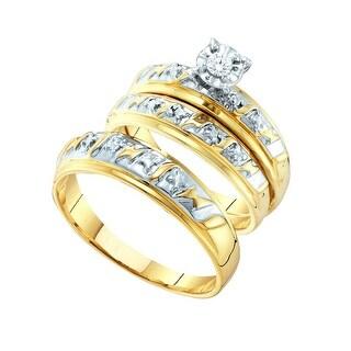 14k Yellow Gold His Hers Men Womens Diamond Matching 2-tone Trio Wedding Bridal Ring Set 1/20 Cttw - White