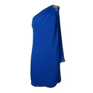JS Boutique Women's Beaded Draped One Shoulder Chiffon Dress