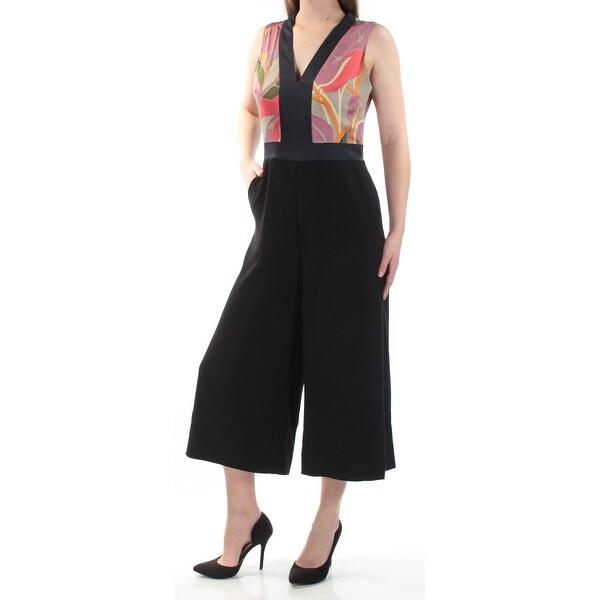Shop Rachel Roy Womens Purple Printed Sleeveless V Neck Wide Leg