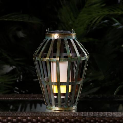 Alpine Corporation Grey Solar Metal Lantern with Flickering LED lights