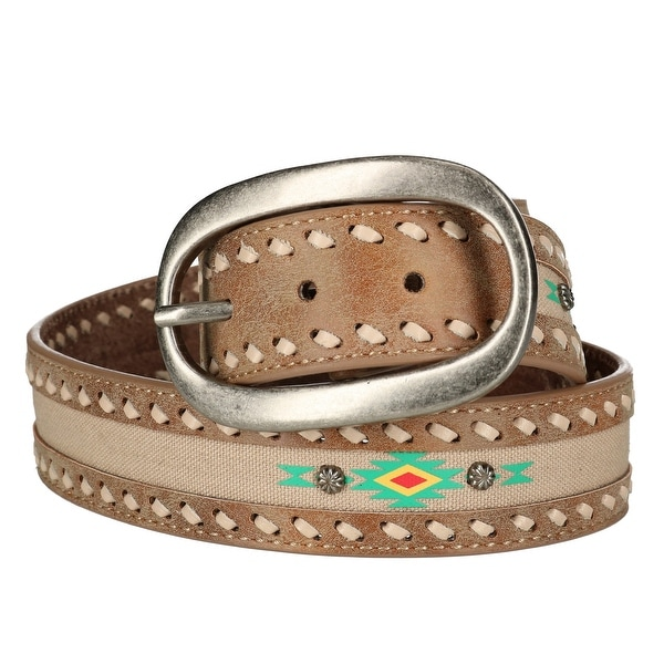 Danbury Women's Aztec Inlay Center Bar Buckle Belt