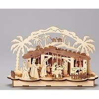 """7.5"""" Religious LED Wooden Nativity Scene Table Top Decoration - brown"""