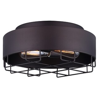 Canarm Portsmouth 2 Light Flush Mount with Metal Shade - Oil Rubbed Bronze Finish