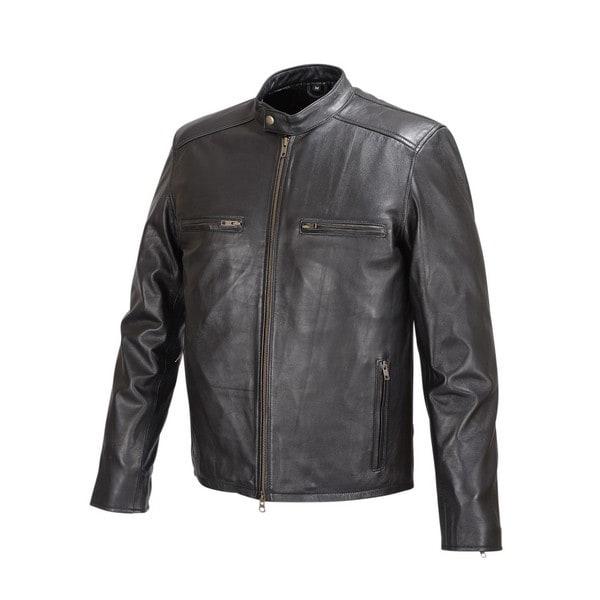 Men Moto Style Leather Jacket Black FJ2