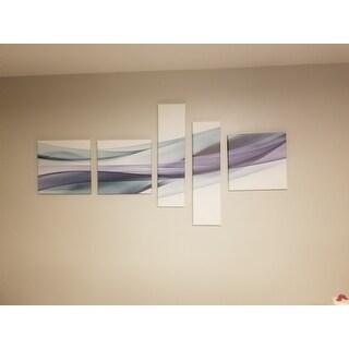 Designart 'Fractal Lines Grey Blue' Abstract Canvas art print
