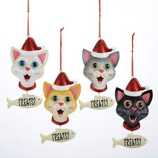 "Club Pack of 12 Kitty Cat in Santa Hat ""Treats?"" Christmas Pendant Ornaments 5"""