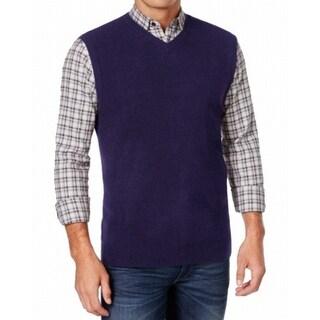 Weatherproof NEW Navy Blue Mens Size Medium M Solid Knit Sweater Vest