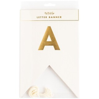 My Mind's Eye Fancy Letter Banner, Ivory and Gold, 46 Letters