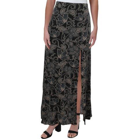 Sanctuary Womens Maxi Skirt Printed Front Slit