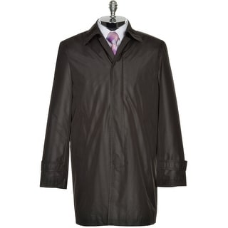 DKNY Donna Karan Mens Black Raincoat Water Resistant Button Front Overcoat