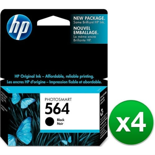 HP 564 Black Original Ink Cartridge (CB316WN)(4-Pack)