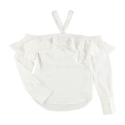 GUESS Womens Cold-Shoulder Flounce Pullover Blouse, white, Small