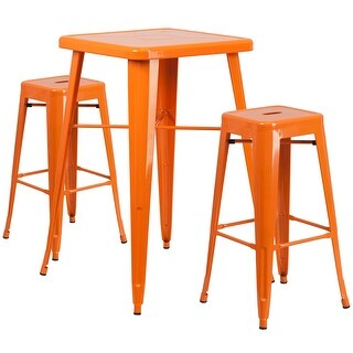 Brimmes 3pcs Square 23.75'' Orange Metal Table w/2 Square Seat Backless Barstool